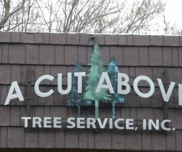 Bronze trees were finished with green patinas and other text is flat cut out aluminum Gemini Brand lettering.  Raceway was used to attach to building.