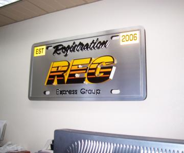 Brushed aluminum panel with combination of reflective vinyl and 3D foam Kem letters custom finished