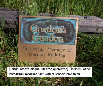 Gemini Brand bronze plaque with patina finish.