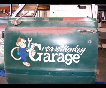 Hand Painted Distressed Vintage Car Graphic